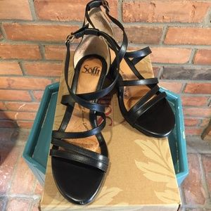 Sofft Mecina Black Leather Strappy Wedge Sandals